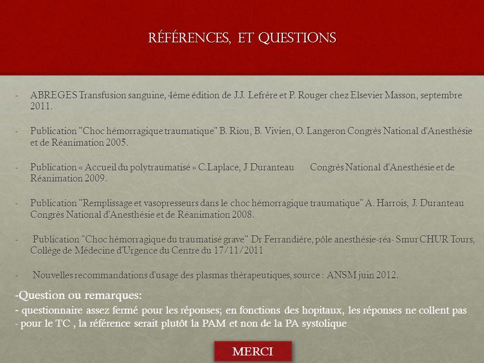 Références, et Questions -ABREGES Transfusion sanguine, 4ème édition de J.J. Lefrère et P. Rouger chez Elsevier Masson, septembre 2011. -Publication