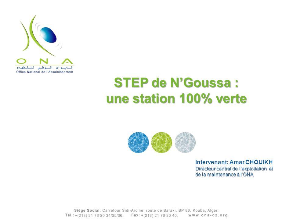 STEP de NGoussa : une station 100% verte Intervenant: Amar CHOUIKH Directeur central de lexploitation et de la maintenance à lONA