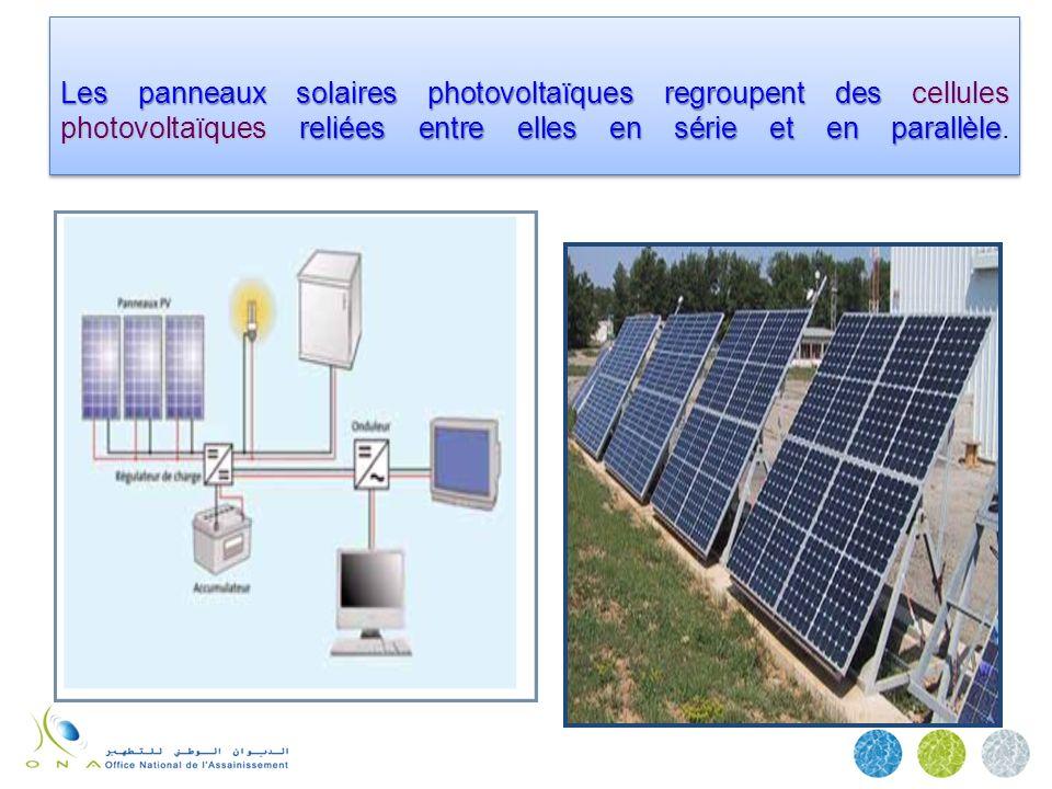 Les panneaux solaires photovoltaïques regroupent des cellules photovoltaïquesreliées entre elles en série et en parallèle Les panneaux solaires photov