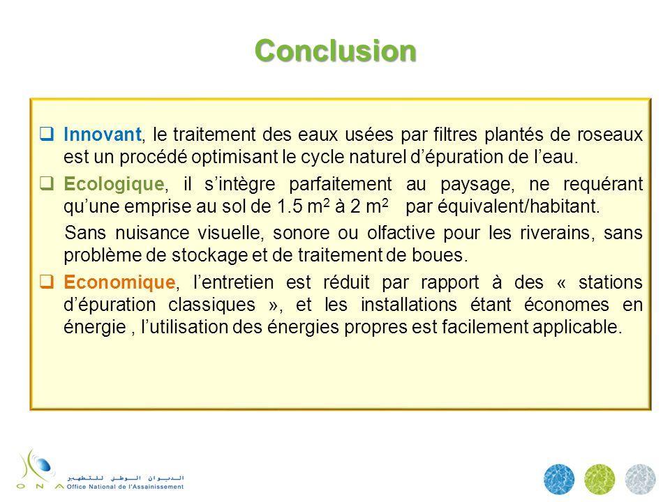 Conclusion Innovant, le traitement des eaux usées par filtres plantés de roseaux est un procédé optimisant le cycle naturel dépuration de leau. Ecolog