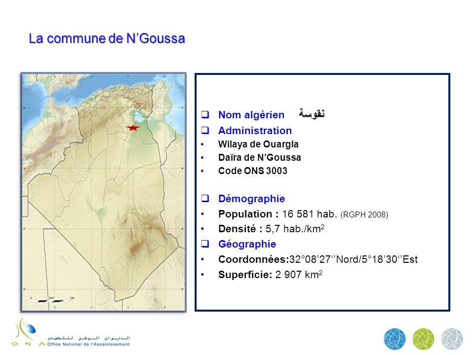 La commune de NGoussa نقوسة Nom algérien نقوسة Administration Wilaya de Ouargla Daïra de NGoussa Code ONS 3003 Démographie Population : 16 581 hab. (R