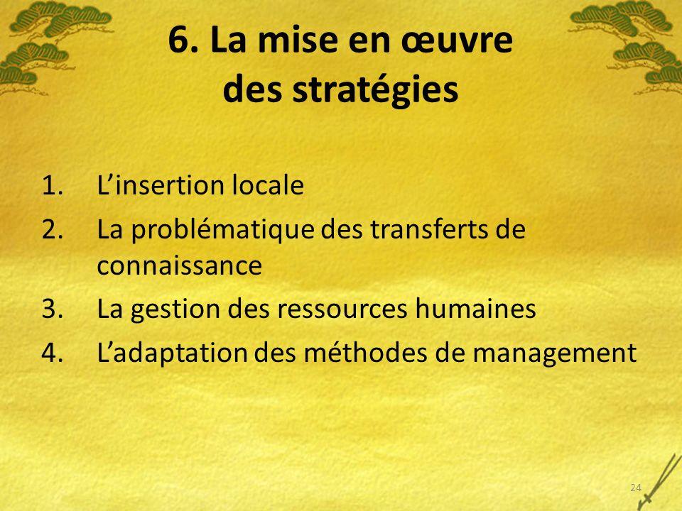 6. La mise en œuvre des stratégies 1.Linsertion locale 2.La problématique des transferts de connaissance 3.La gestion des ressources humaines 4.Ladapt