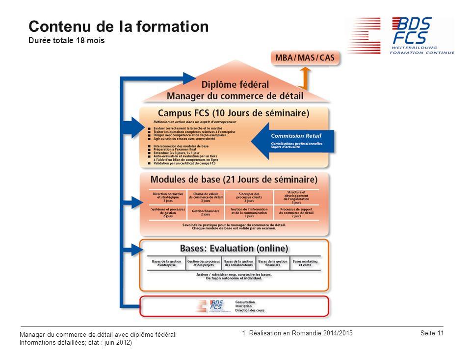 1. Réalisation en Romandie 2014/2015 Seite 11 Manager du commerce de détail avec diplôme fédéral: Informations détaillées; état : juin 2012) Contenu d