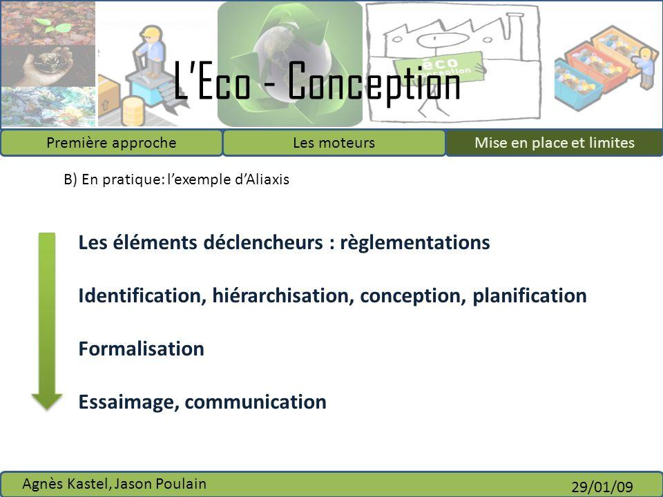 LEco - Conception Première approcheLes moteursMise en place et limites Agnès Kastel, Jason Poulain 29/01/09 B) En pratique: lexemple dAliaxis Les élém