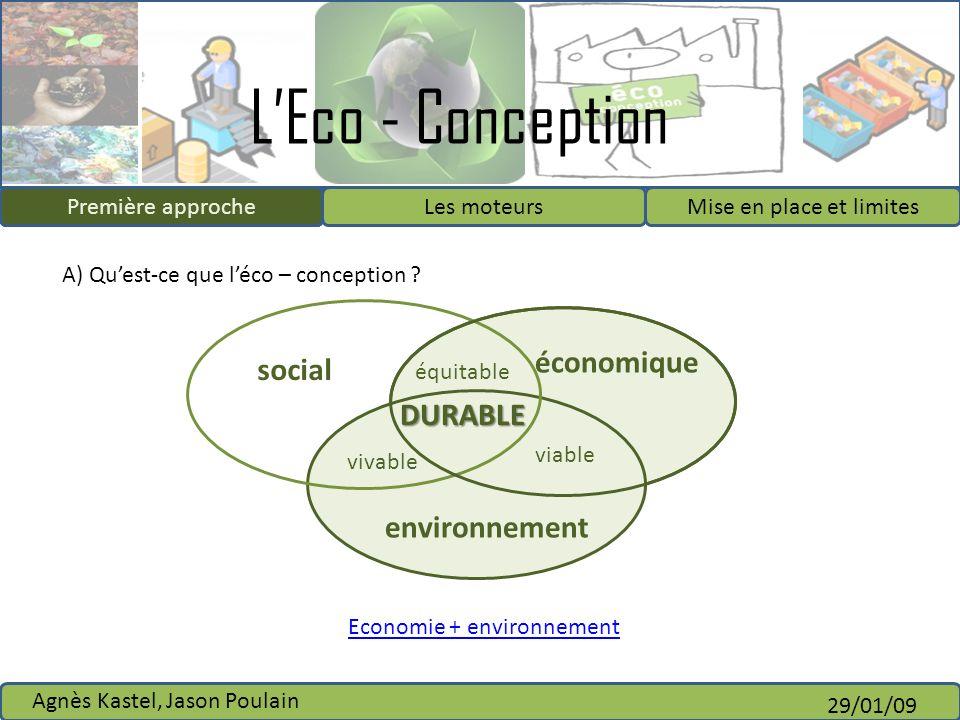LEco - Conception Première approcheLes moteursMise en place et limites Agnès Kastel, Jason Poulain 29/01/09 IntroductionPremière approche social équit