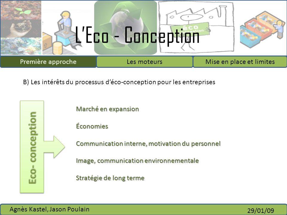 LEco - Conception Première approcheLes moteursMise en place et limites Agnès Kastel, Jason Poulain 29/01/09 B) Les intérêts du processus déco-concepti