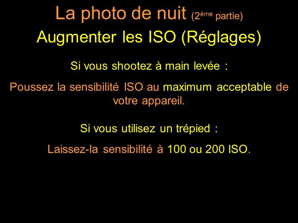 Si vous shootez à main levée : Poussez la sensibilité ISO au maximum acceptable de votre appareil.