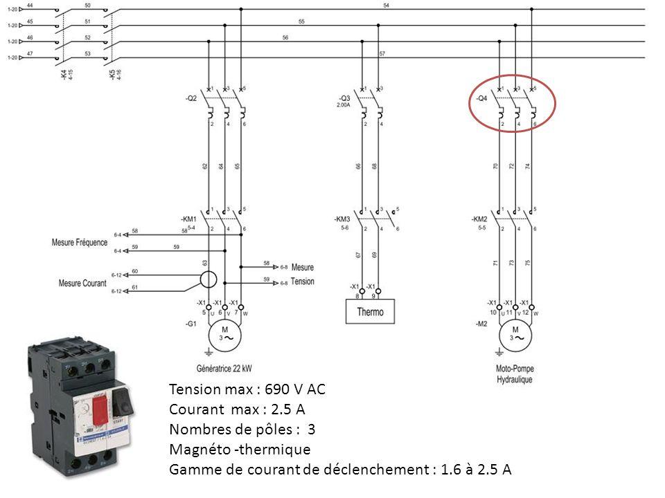 Tension max : 690 V AC Courant max : 2.5 A Nombres de pôles : 3 Magnéto -thermique Gamme de courant de déclenchement : 1.6 à 2.5 A