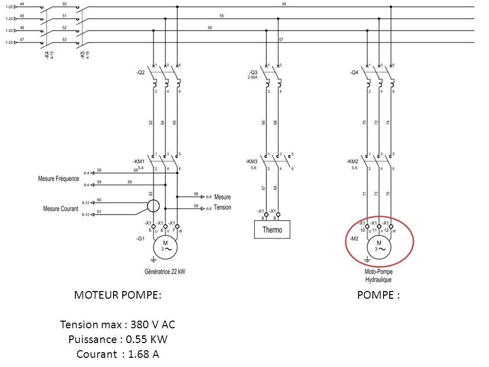 MOTEUR POMPE: Tension max : 380 V AC Puissance : 0.55 KW Courant : 1.68 A POMPE :