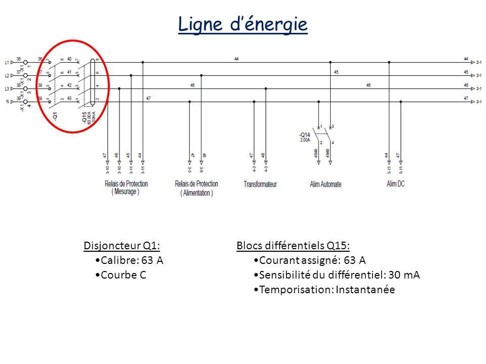 Ligne dénergie Disjoncteur Q1: Calibre: 63 A Courbe C Blocs différentiels Q15: Courant assigné: 63 A Sensibilité du différentiel: 30 mA Temporisation: