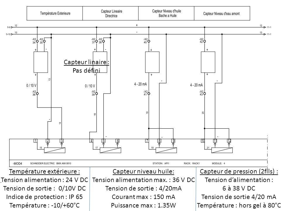 Température extérieure : Tension alimentation : 24 V DC Tension de sortie : 0/10V DC Indice de protection : IP 65 Température : -10/+60°C Capteur lina