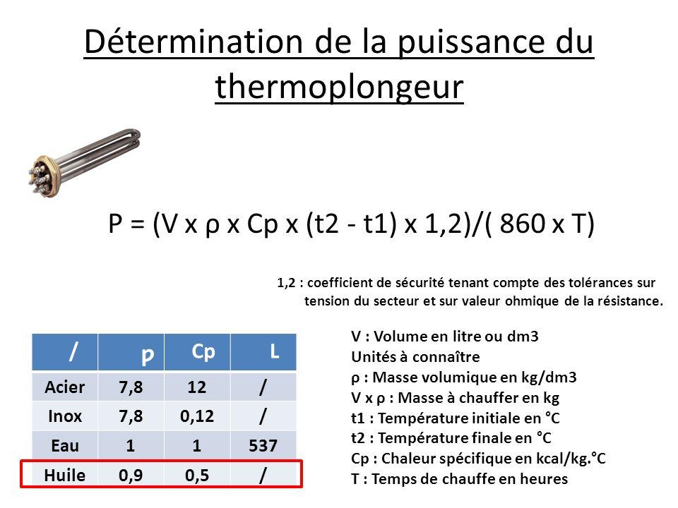 Détermination de la puissance du thermoplongeur / ƿ Cp L Acier7,812/ Inox7,80,12/ Eau11537 Huile0,90,5/ V : Volume en litre ou dm3 Unités à connaître