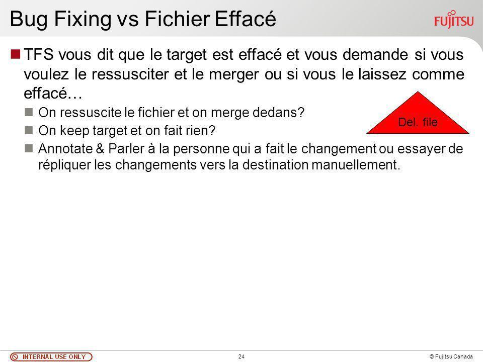 24 © Fujitsu Canada Bug Fixing vs Fichier Effacé TFS vous dit que le target est effacé et vous demande si vous voulez le ressusciter et le merger ou si vous le laissez comme effacé… On ressuscite le fichier et on merge dedans.