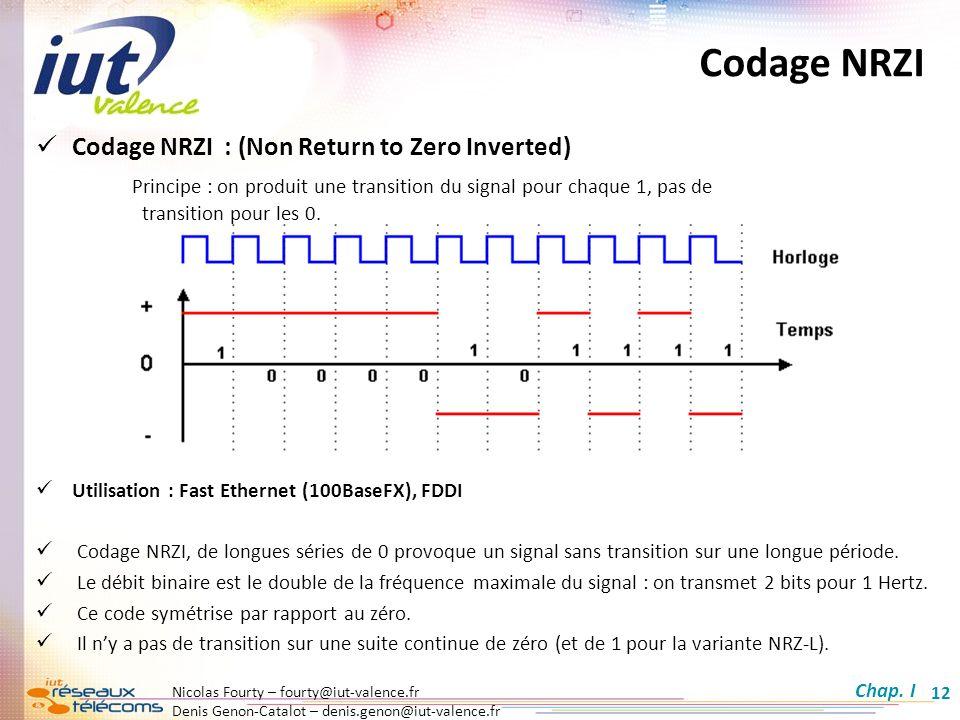 Nicolas Fourty – fourty@iut-valence.fr Denis Genon-Catalot – denis.genon@iut-valence.fr 12 Codage NRZI Codage NRZI : (Non Return to Zero Inverted) Pri