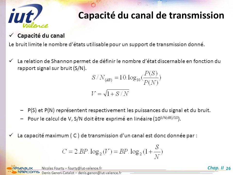 Nicolas Fourty – fourty@iut-valence.fr Denis Genon-Catalot – denis.genon@iut-valence.fr 26 Capacité du canal de transmission Capacité du canal Le brui