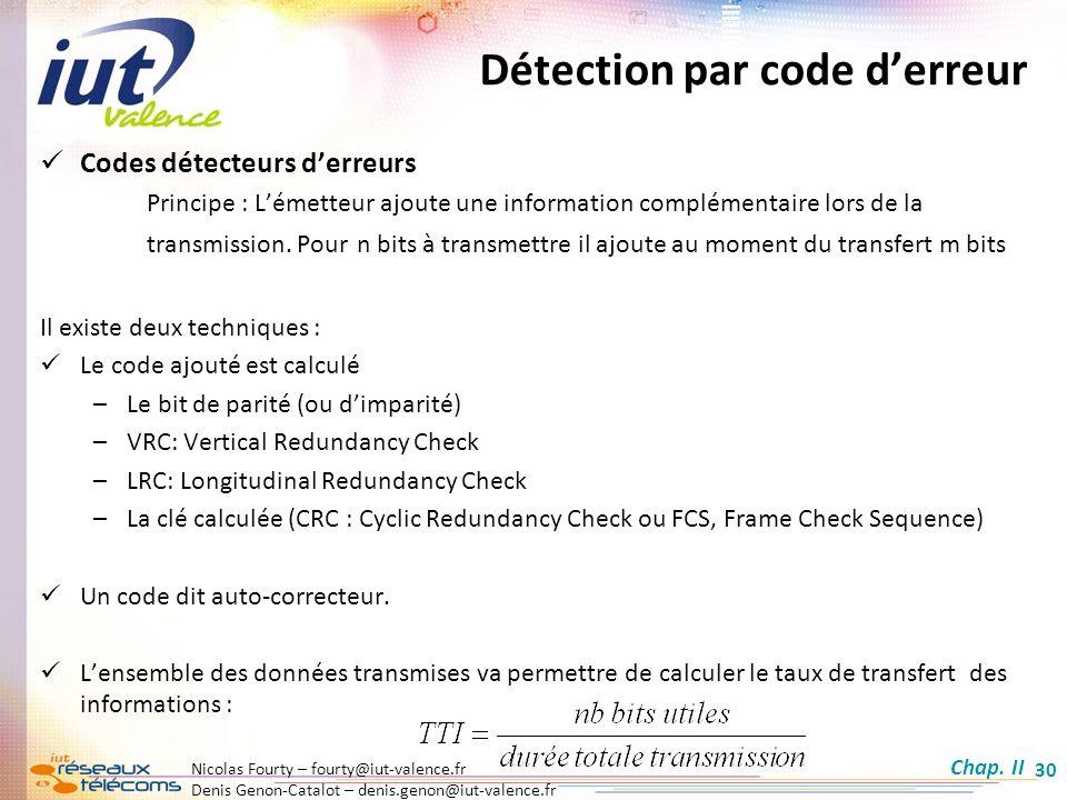 Nicolas Fourty – fourty@iut-valence.fr Denis Genon-Catalot – denis.genon@iut-valence.fr 30 Détection par code derreur Codes détecteurs derreurs Princi