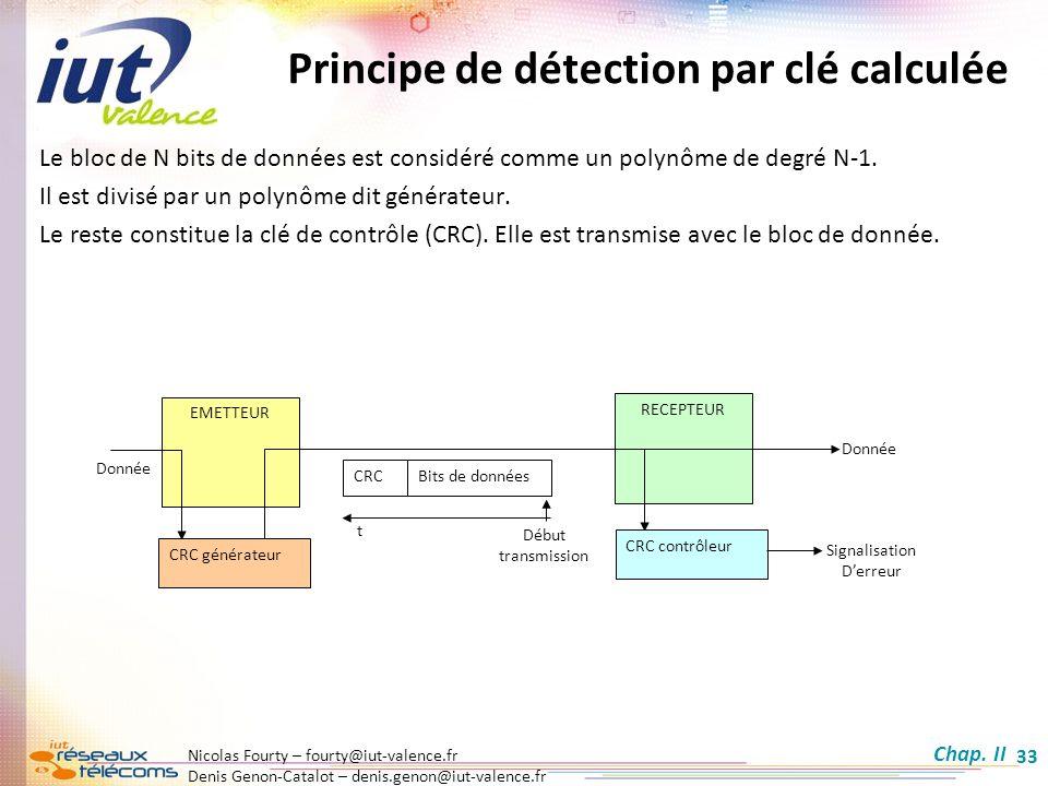 Nicolas Fourty – fourty@iut-valence.fr Denis Genon-Catalot – denis.genon@iut-valence.fr 33 Principe de détection par clé calculée EMETTEUR RECEPTEUR C