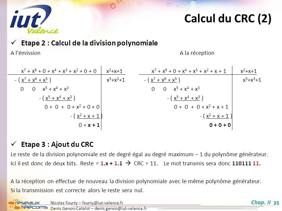 Nicolas Fourty – fourty@iut-valence.fr Denis Genon-Catalot – denis.genon@iut-valence.fr 35 Etape 2 : Calcul de la division polynomiale A lémissionA la