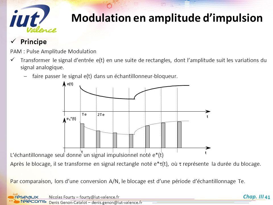 Nicolas Fourty – fourty@iut-valence.fr Denis Genon-Catalot – denis.genon@iut-valence.fr 41 Principe PAM : Pulse Amplitude Modulation Transformer le si