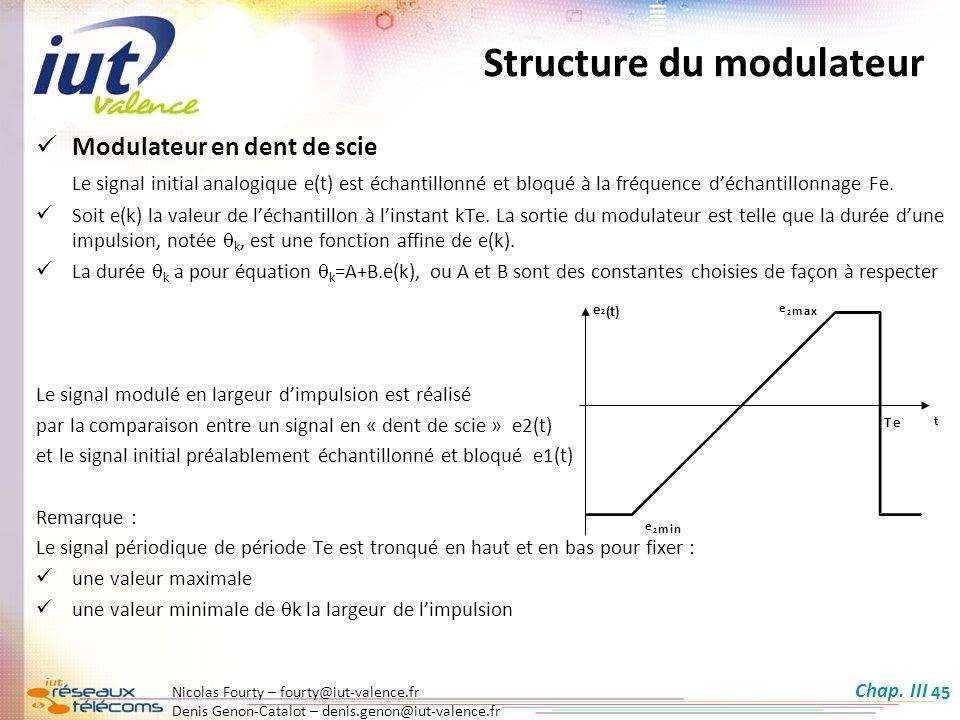 Nicolas Fourty – fourty@iut-valence.fr Denis Genon-Catalot – denis.genon@iut-valence.fr 45 Modulateur en dent de scie Le signal initial analogique e(t