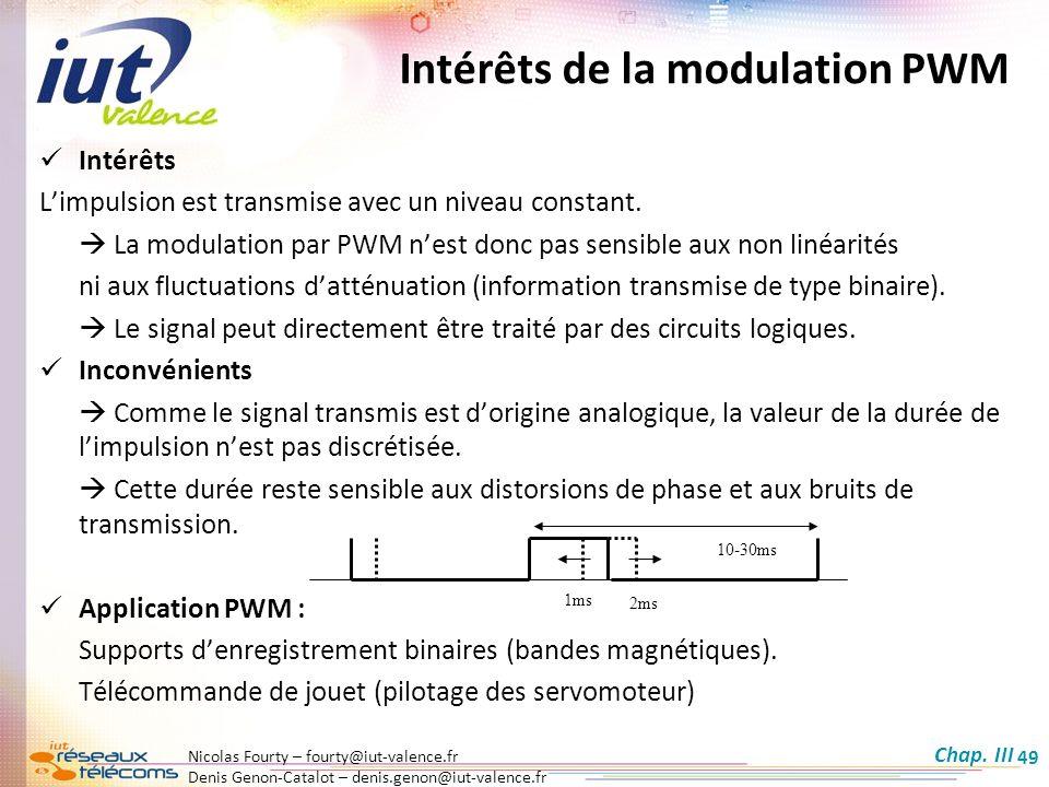 Nicolas Fourty – fourty@iut-valence.fr Denis Genon-Catalot – denis.genon@iut-valence.fr 49 Intérêts de la modulation PWM Intérêts Limpulsion est trans