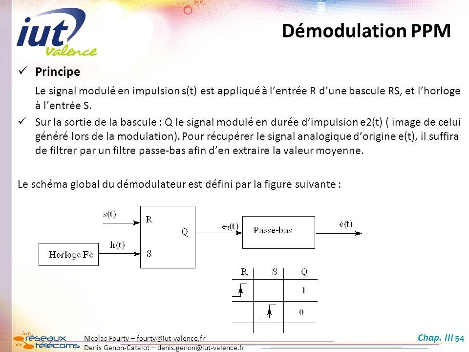 Nicolas Fourty – fourty@iut-valence.fr Denis Genon-Catalot – denis.genon@iut-valence.fr 54 Démodulation PPM Principe Le signal modulé en impulsion s(t