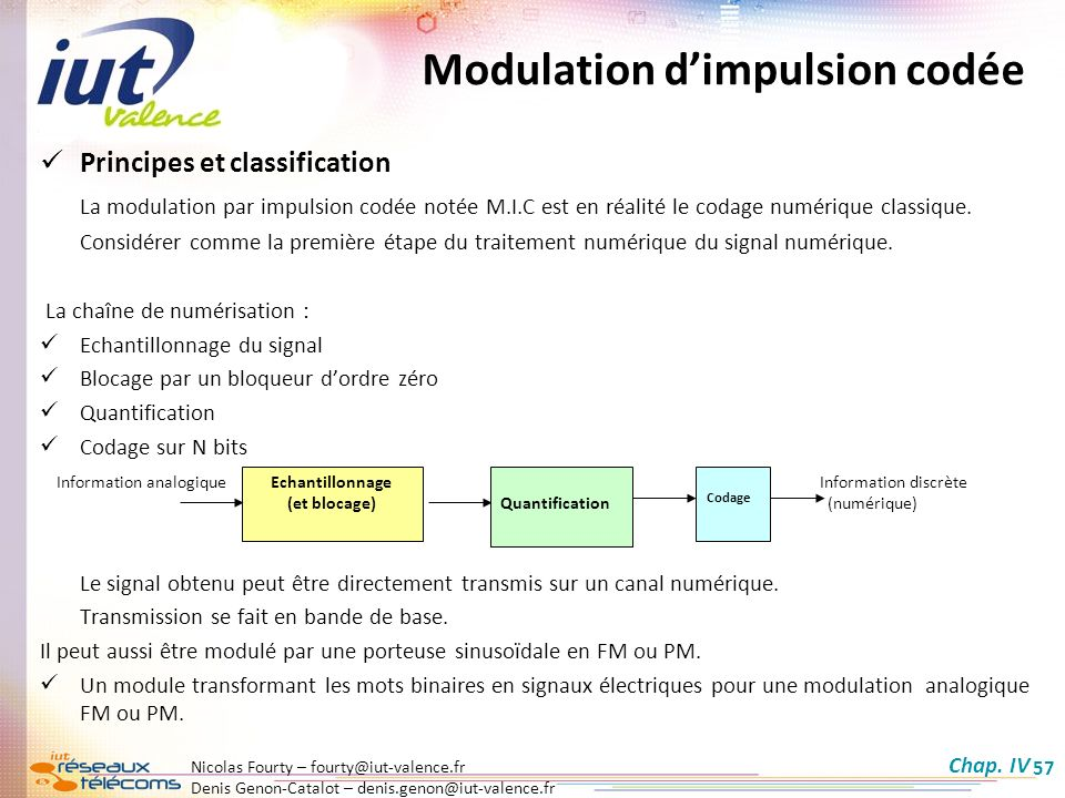 Denis Genon-Catalot – denis.genon@iut-valence.fr 57 Principes et classification La modulation par impulsion codée notée M.I.C est en réalité le codage numérique classique.