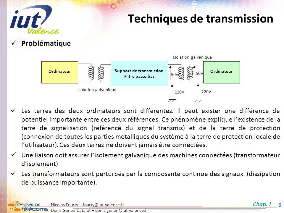 Nicolas Fourty – fourty@iut-valence.fr Denis Genon-Catalot – denis.genon@iut-valence.fr 17 Codage Multi Level MLT3 Principe : Dans ce codage, seuls les 1 font changer le signal détat et sont codés successivement sur trois états : +V, 0 et –V.