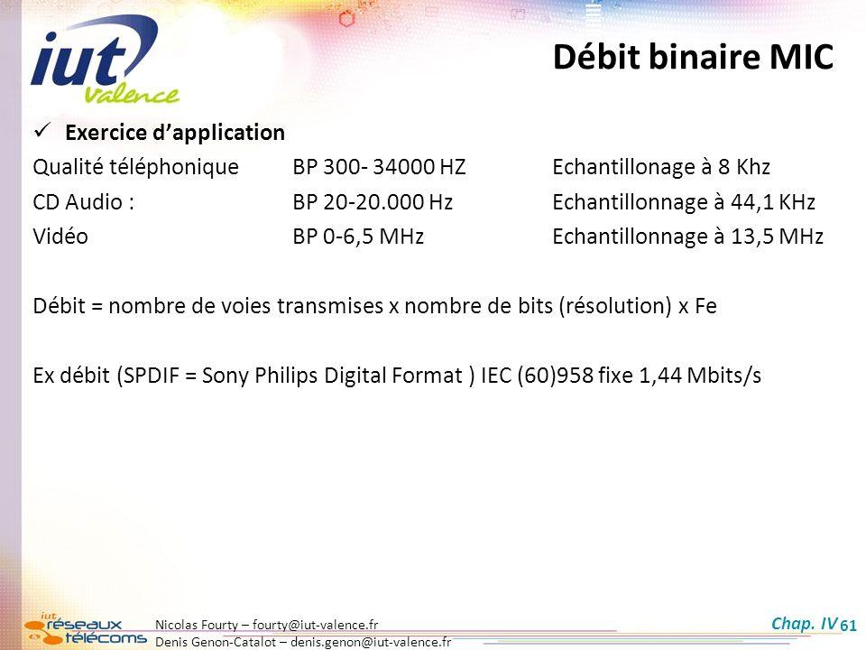 Nicolas Fourty – fourty@iut-valence.fr Denis Genon-Catalot – denis.genon@iut-valence.fr 61 Débit binaire MIC Exercice dapplication Qualité téléphoniqu