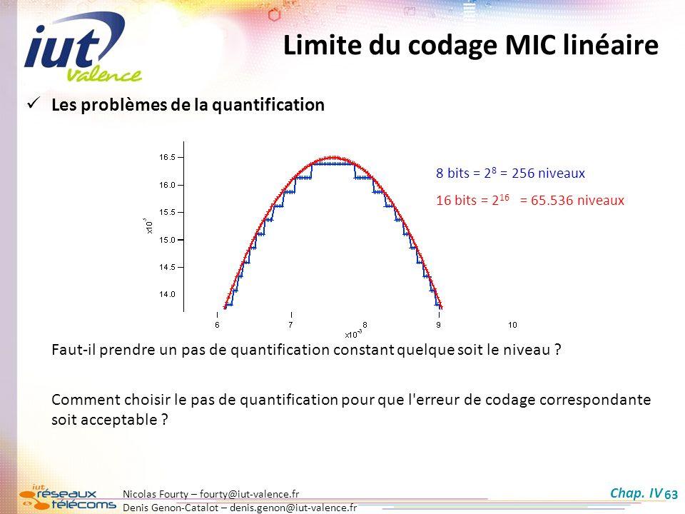 Nicolas Fourty – fourty@iut-valence.fr Denis Genon-Catalot – denis.genon@iut-valence.fr 63 Limite du codage MIC linéaire Les problèmes de la quantific