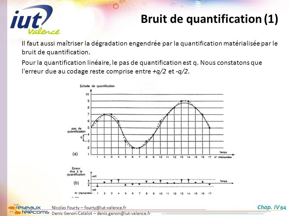 Nicolas Fourty – fourty@iut-valence.fr Denis Genon-Catalot – denis.genon@iut-valence.fr 64 Bruit de quantification (1) Il faut aussi maîtriser la dégr