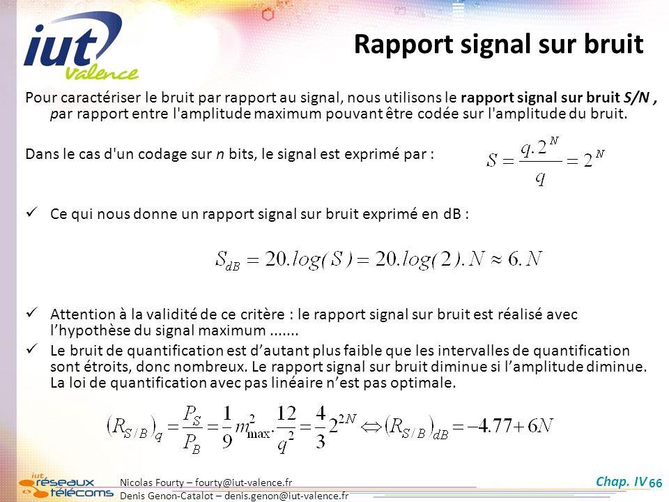 Nicolas Fourty – fourty@iut-valence.fr Denis Genon-Catalot – denis.genon@iut-valence.fr 66 Rapport signal sur bruit Pour caractériser le bruit par rap