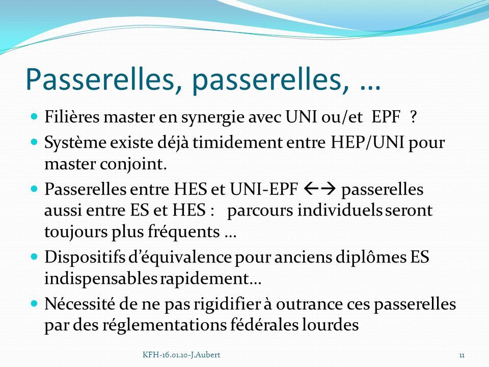 Passerelles, passerelles, … Filières master en synergie avec UNI ou/et EPF .