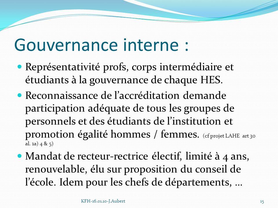 Gouvernance interne : Représentativité profs, corps intermédiaire et étudiants à la gouvernance de chaque HES.