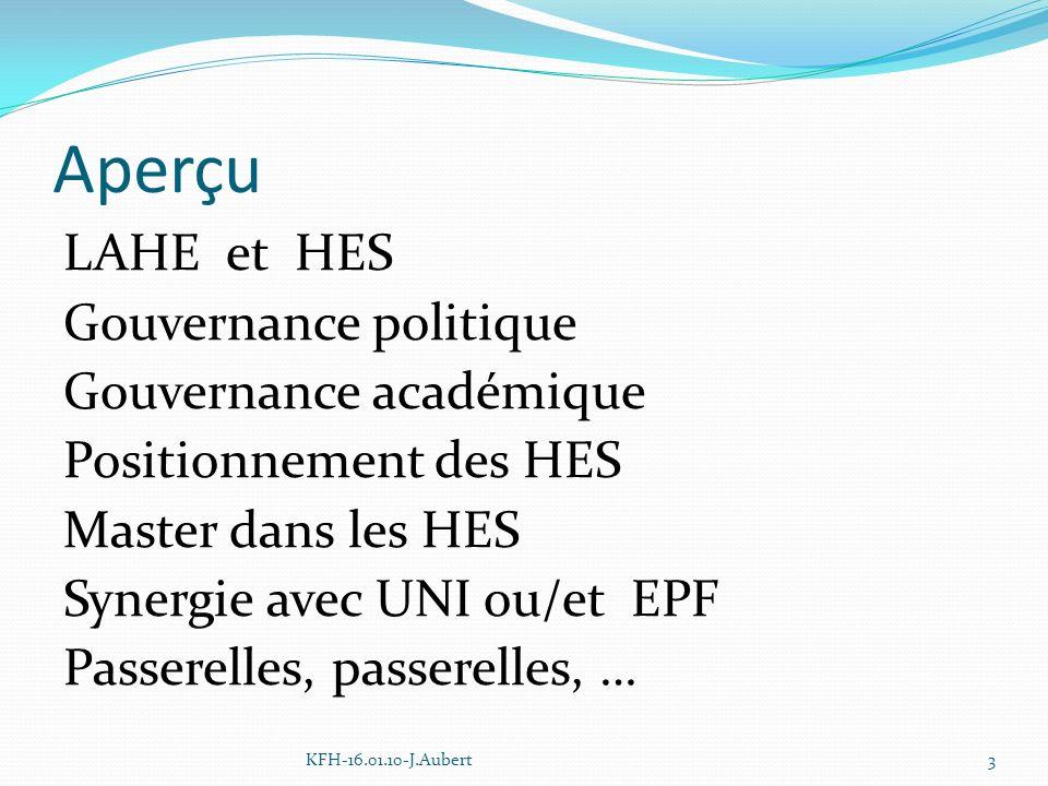 Aperçu LAHE et HES Gouvernance politique Gouvernance académique Positionnement des HES Master dans les HES Synergie avec UNI ou/et EPF Passerelles, passerelles, … KFH-16.01.10-J.Aubert3