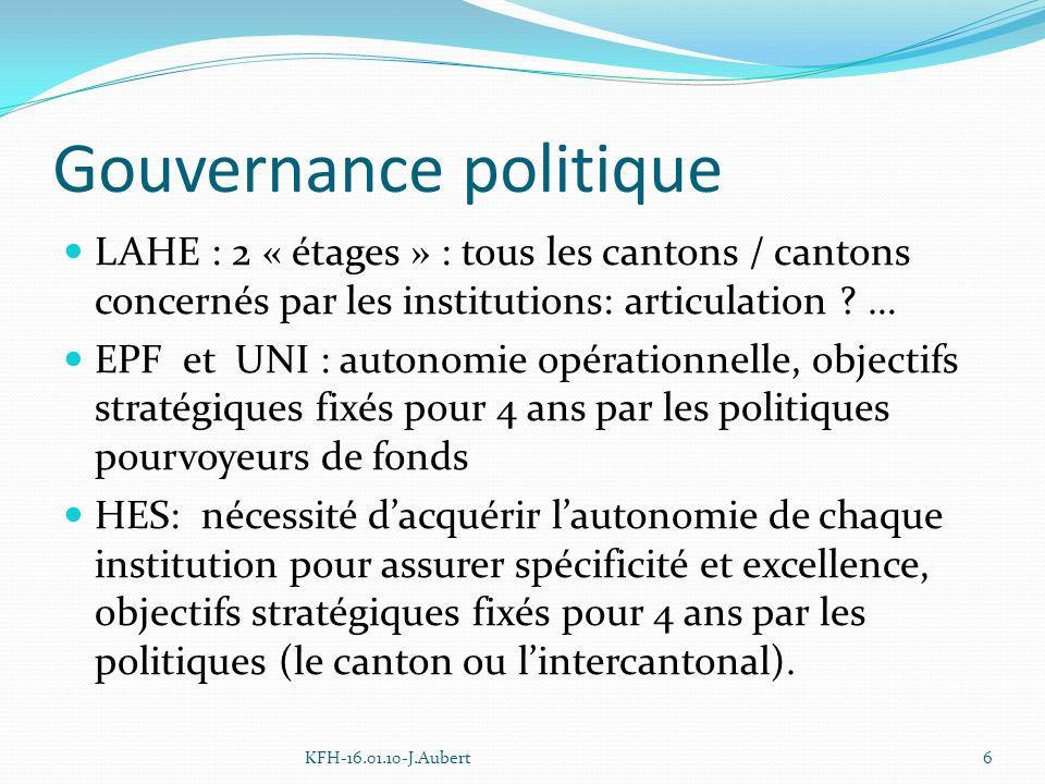 Gouvernance politique LAHE : 2 « étages » : tous les cantons / cantons concernés par les institutions: articulation .