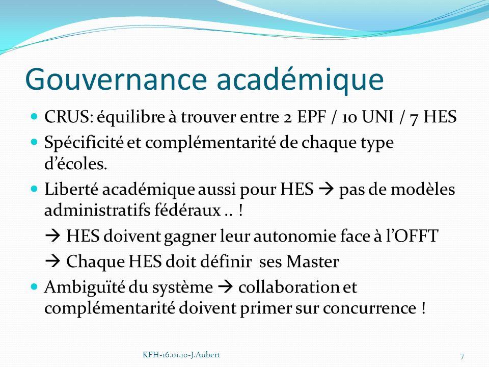 Gouvernance académique CRUS: équilibre à trouver entre 2 EPF / 10 UNI / 7 HES Spécificité et complémentarité de chaque type décoles.
