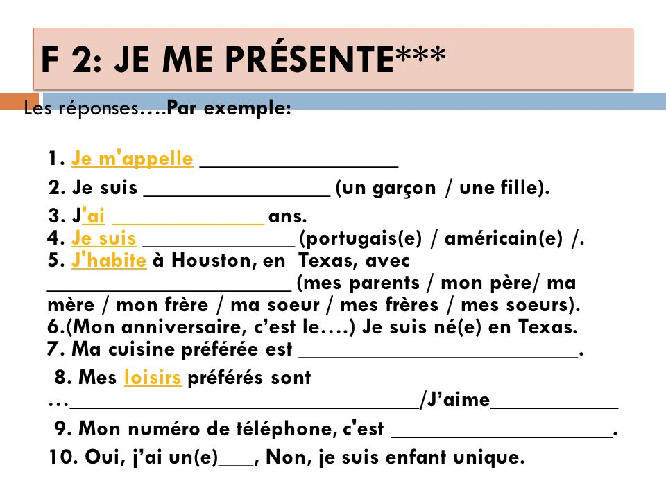 FRENCH 2 ALL (warmup***) JE ME PRÉSENTE: 1.Comment t appelles-tu.