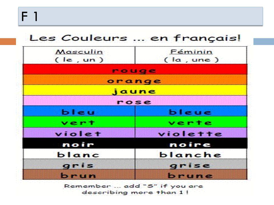F 1 Les nationalités: français anglais américain canadien française anglaise américaine canadienne