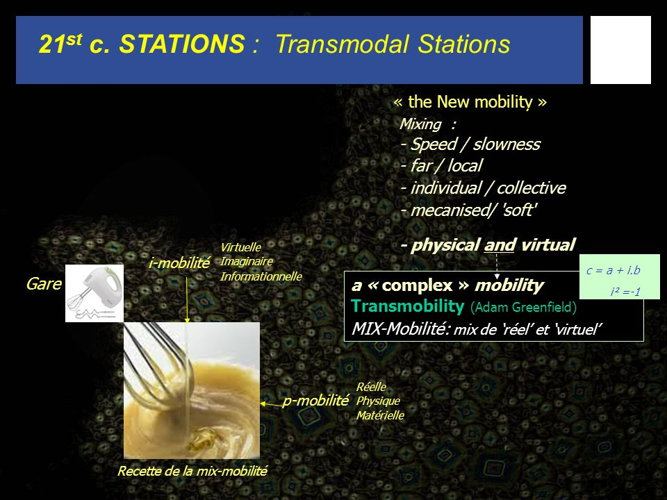 21 st c. STATIONS : Transmodal Stations « the New mobility » Mixing : - Speed / slowness - far / local - individual / collective - mecanised/ 'soft' -