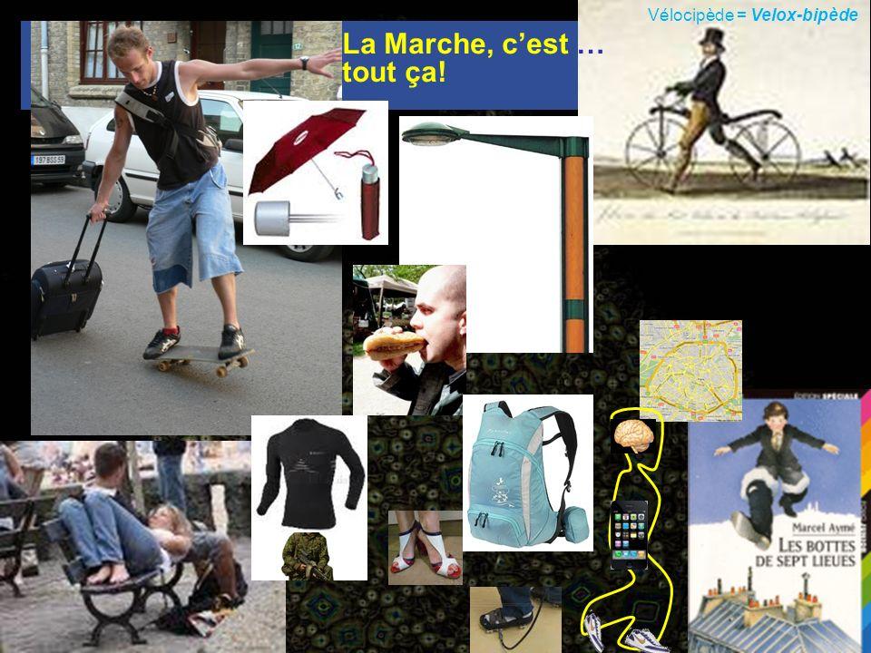 Vélocipède = Velox-bipède La Marche, cest … tout ça!