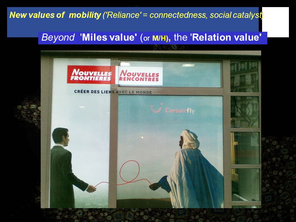 New values of mobility ( Reliance = connectedness, social catalyst) Beyond Miles value ( or M/H), the Relation value
