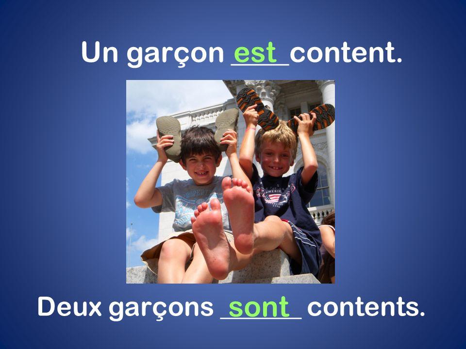 Un garçon ____content.est Deux garçons ______ contents. sont