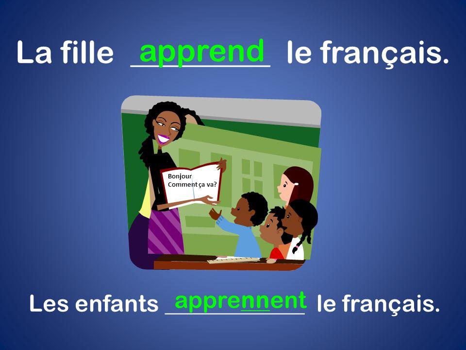Quelle est la date aujourdhui? La fille _________ le français. apprend Les enfants ____________ le français. apprennent