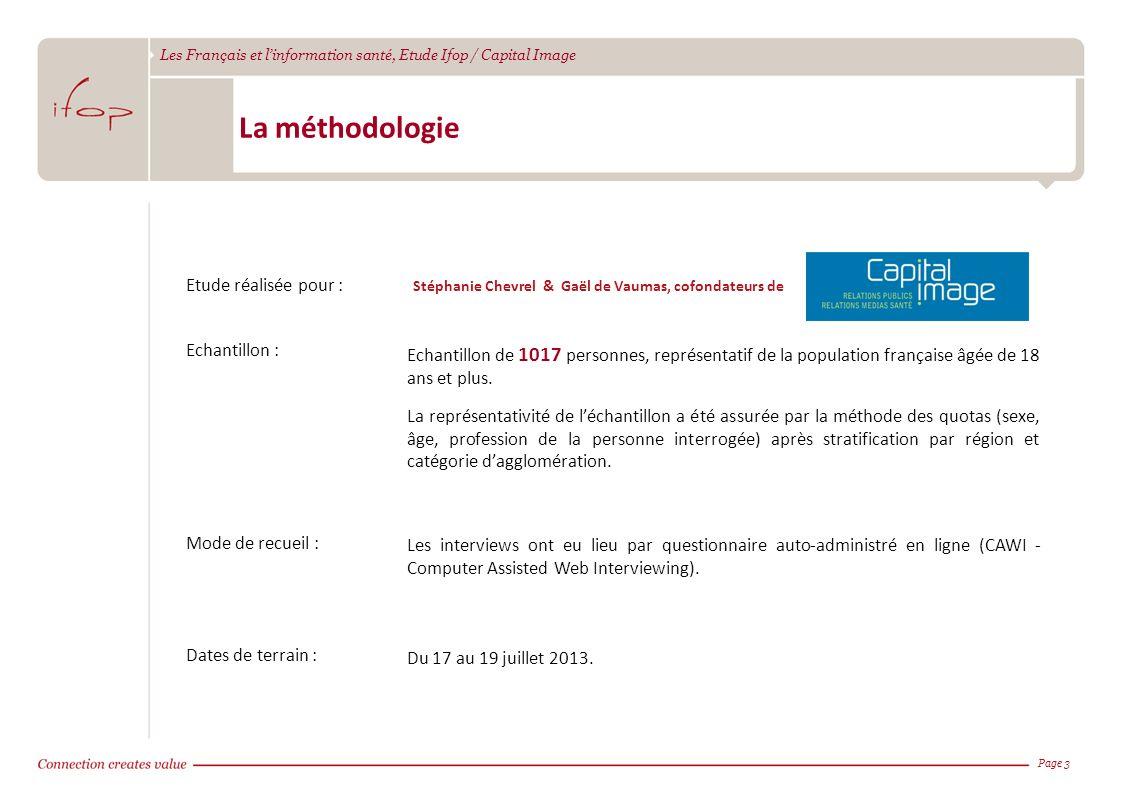 Les Français et linformation santé, Etude Ifop / Capital Image La méthodologie Page 3 Etude réalisée pour : Stéphanie Chevrel & Gaël de Vaumas, cofond