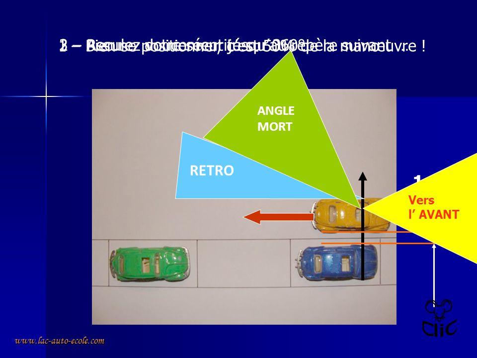 www.lac-auto-ecole.com Le créneau à droite 1 – Durant toute la manœuvre vous navez pas la priorité, il faut observer régulièrement sur 360° autour de