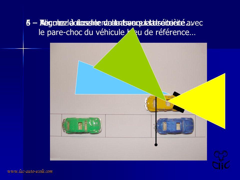 www.lac-auto-ecole.com 4 – Alignez le dossier de la banquette arrière avec le pare-choc du véhicule bleu de référence… 5 – Tournez à fond le volant vers la droite…6 – Reculez doucement et assurez la sécurité...
