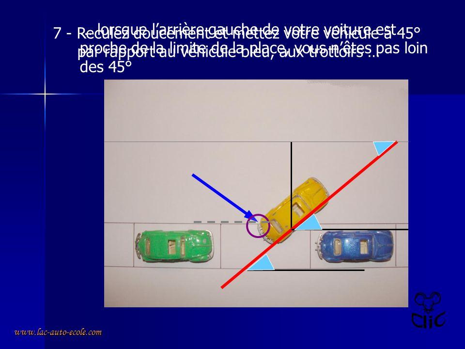 www.lac-auto-ecole.com 7 - Reculez doucement et mettez votre véhicule à 45° par rapport au véhicule bleu, aux trottoirs … … lorsque larrière gauche de votre voiture est proche de la limite de la place, vous nêtes pas loin des 45°