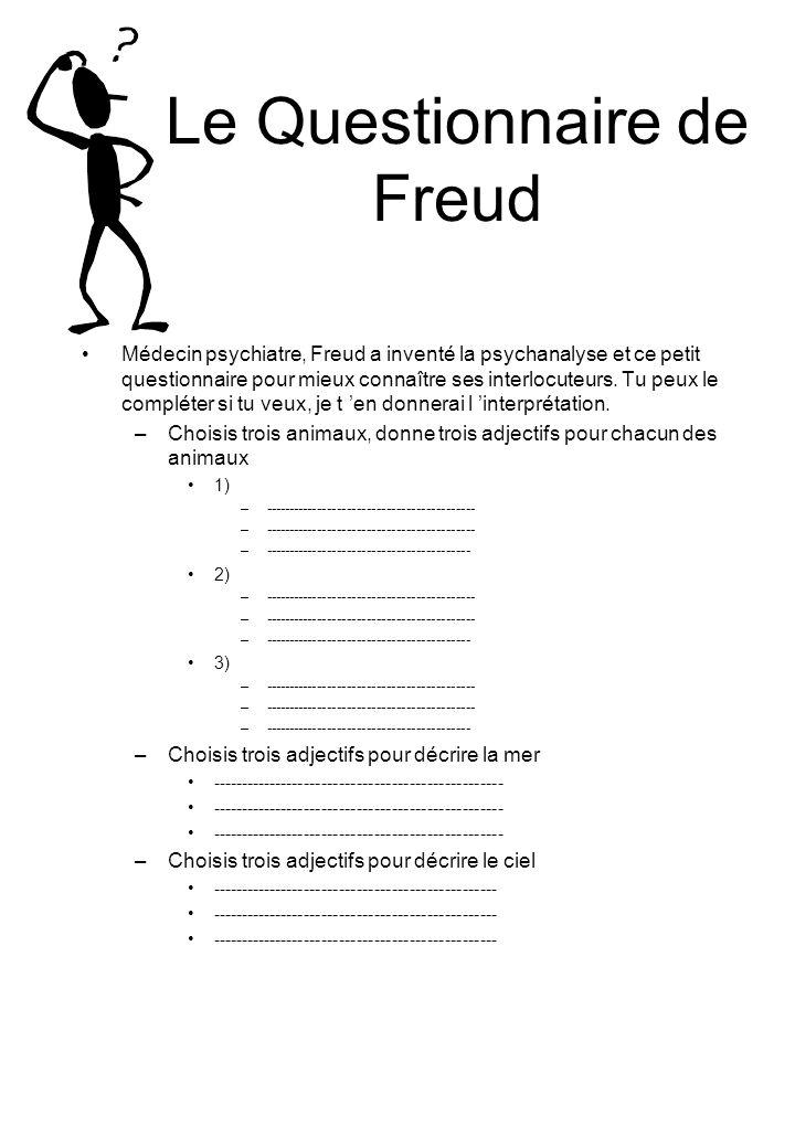 Le Questionnaire de Freud Médecin psychiatre, Freud a inventé la psychanalyse et ce petit questionnaire pour mieux connaître ses interlocuteurs.