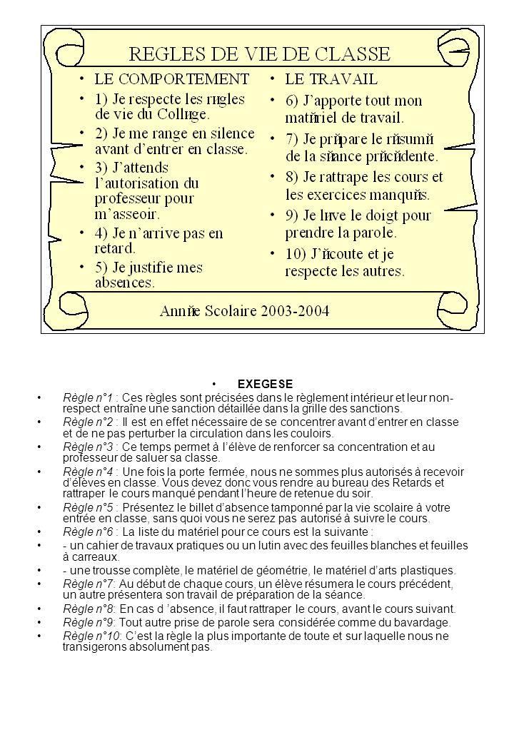 EXEGESE Règle n°1 : Ces règles sont précisées dans le règlement intérieur et leur non- respect entraîne une sanction détaillée dans la grille des sanc
